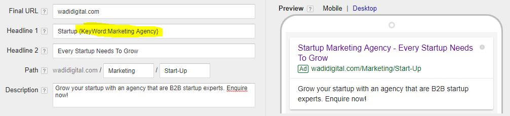 Dynamic Keyword Insertion Increases CTRs & CPAs